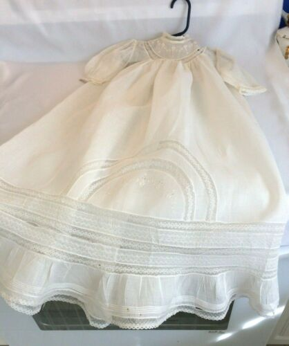 Antique Victorian Baby Cotton Christening Gown, Lace, Gathers, Pin Tucks