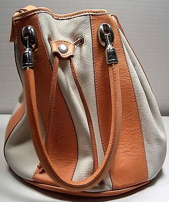 """""""VALENTINA"""" ITALIAN LEATHER DRAWSTRING BUCKET HAND/SHOULDER BAG IN BEIGE/PINK , used for sale  Brooklyn"""