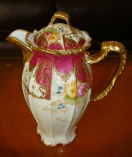 ANTIQUE LIMOGES B&H  HAND PAINTED CHOCOLATE  COFFEE  TEA POT, ROSES & GOLD, 10""
