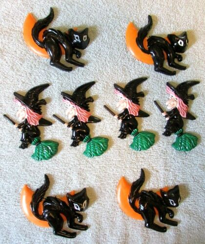 Set 8 vintage Halloween Hard Plastic Cake Toppers 4 Witch 4 Black Cat Moon
