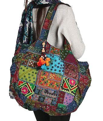 Floral Embroidered Blue Shoulder Tote Bag Boho Gypsy Hippie Cotton Hand Bag - LG - Floral Embroidered Tote