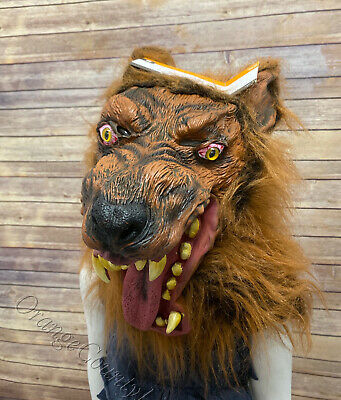 Halloween Adult Rubber Latex Fur Overhead werewolf  Wolf Scary Mask Costume New