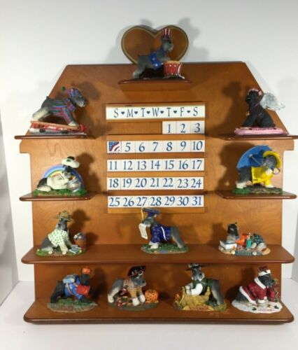 COMPLETE Danbury Mint SCHNAUZER DOG Perpetual Calendar MONTHLY Lovely & RARE!