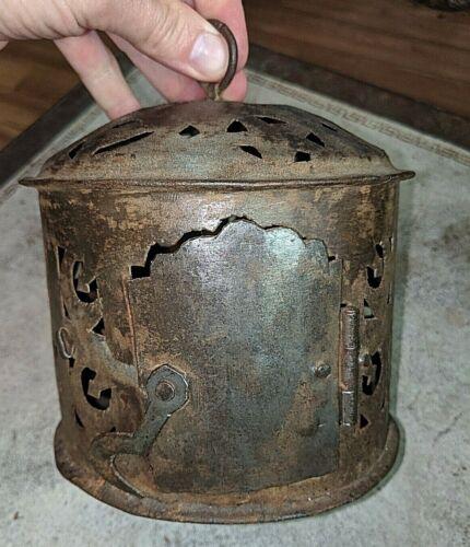 Gorgeous Antique Folk Art Hand Pierced Cut Out Iron - Steel Candle Lantern