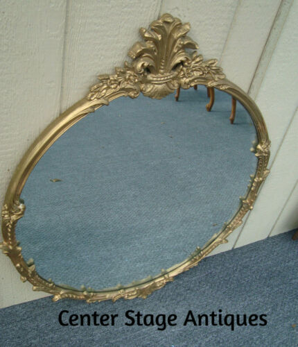 58397 ANTIQUE OVAL GOLD WOOD MIRROR