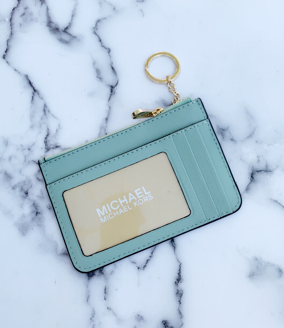 Michael Kors Jet Set Travel Small Top Zip Coin Pouch ID Holder Key Ring Wallet Pale Jade
