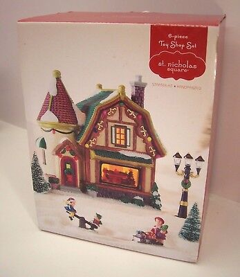 St. Nicholas Square 6 Piece Toy Shop Set The Village Coll. Illuminated New