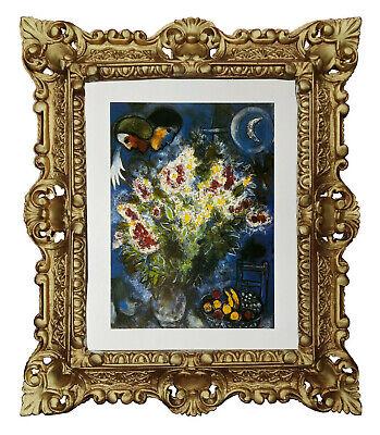 Mural Marc Chagall - Siae Cuadro Con Marco Barroco en Dorado 45x38...