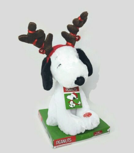 NEW Peanuts Animated Snoopy Plush Christmas Reindeer Antlers Music Motion Moves