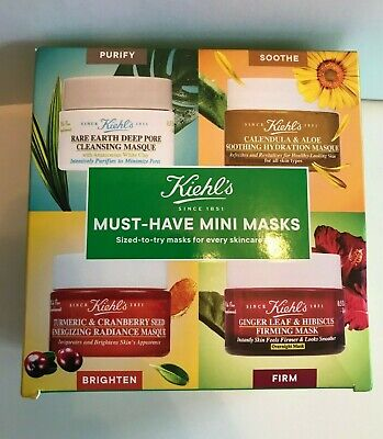 KIEHL'S MUST HAVE MINI FACE MASKS X 4 PURIFY, SOOTHE, BRIGHTEN & FIRM SET NEW