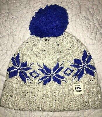 Men's NWT Abercrombie & Fitch Pom Beanie, Natural/Blue