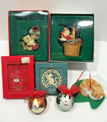 Vintage to Now Cat Christmas Ornaments Lot  Enesco Lenox Gorham