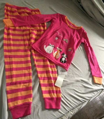 NEW Gymboree Size 6 Girls 2 Piece Pajama Pink Cookie Snack Cat Pants Long Sleeve