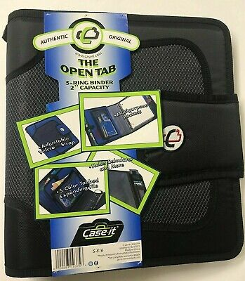 The Open Tab 3-ring Binder 2 Capacity Adjust Velcro 5 Color Tabs Black