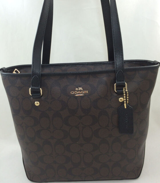 Coach Signature Zip Top Tote Shoulder Handbag - F34603 | eBay
