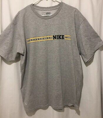 NIKE PERFORMANCE  Men's T-Shirt Embroidered with stripes Size L GRAY Grays Embroidered T-shirt