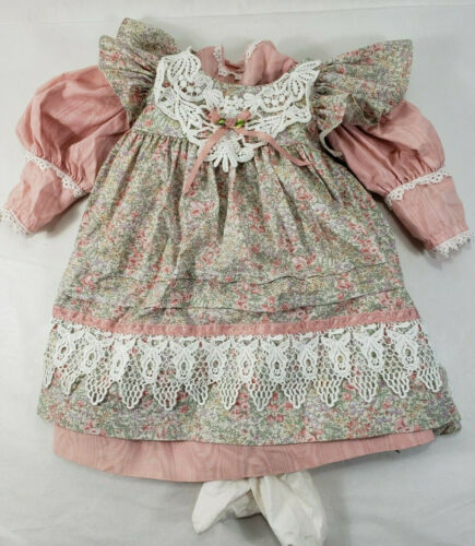 "Porcelain Doll Outfit Clothes 26"" Coral Floral Lace Print Dress Tights"