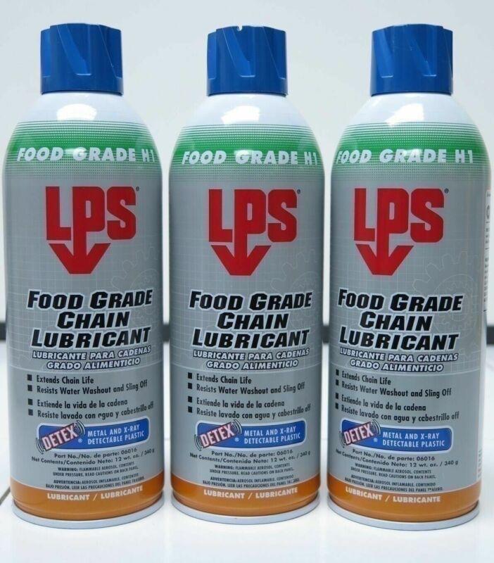 3 PACK LPS 06016 DETEX Food Grade Chain Lubricant Water Resistant 12 Oz. Aerosol