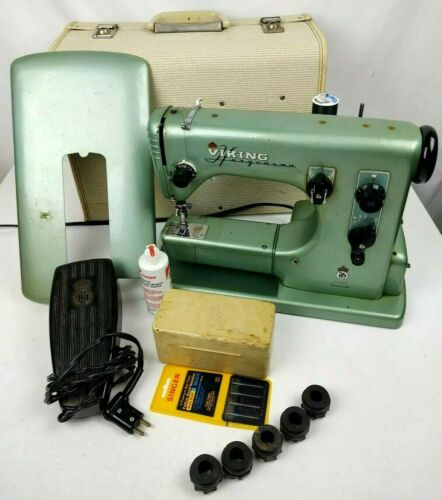 Husqvarna Viking  21E  Vintage Sewing Machine    with Case & 5 Cams    Works!!