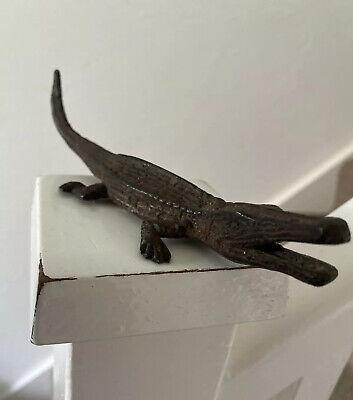Vintage 13cm Long Cast Iron Alligator Ornament Antique