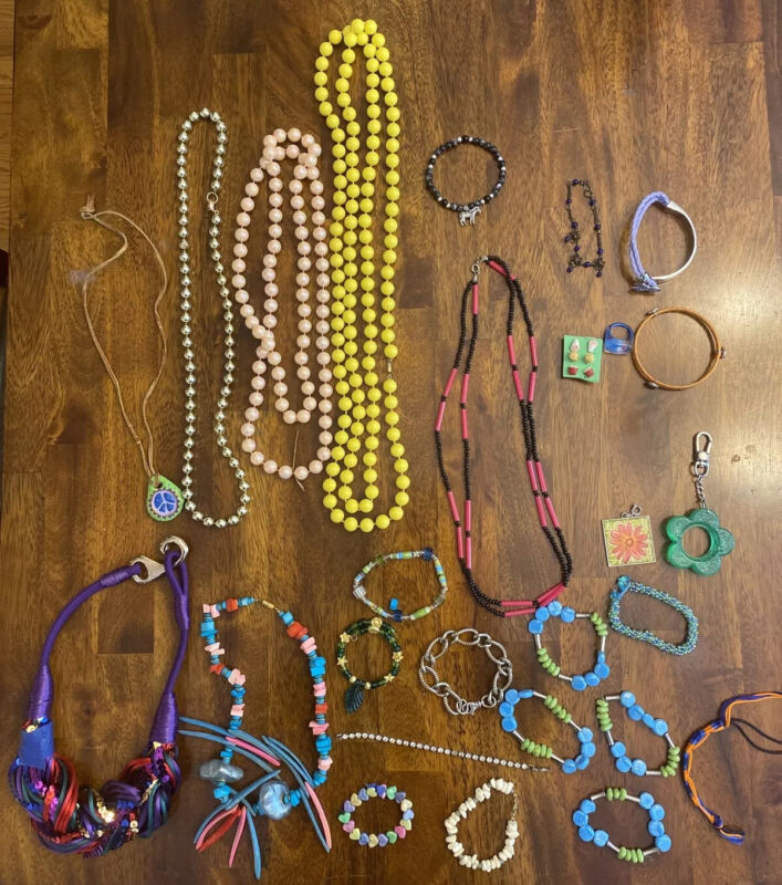 Large Lot of Kids Costume Jewelry,Colorful Necklaces,Bracelets,Rings,Earring