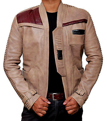 Marksman - Star Wars Finn Jacket John Boyega Beige Real Leather Jacket For Mens