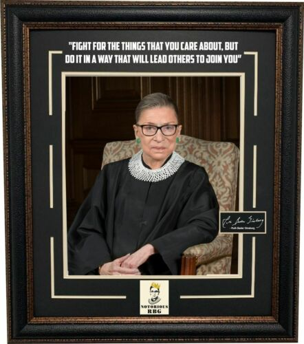 Ruth Bader Ginsburg Photo with Laser Signature and Quote