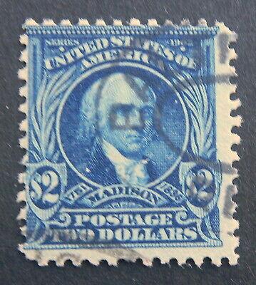USED 1902 - $2 Perf 12 Series  #312 $2 dark blue (Cancel)  VERY Nice & CLEAN $2