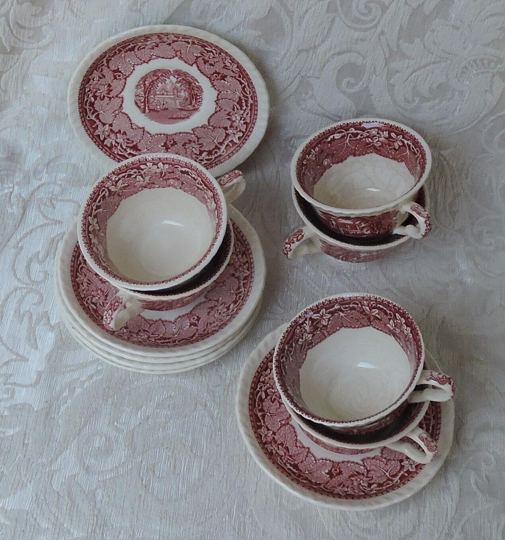 Mason's Vista 6 tazze da tè con piattino c1950's Tea cups Red Vista Pattern
