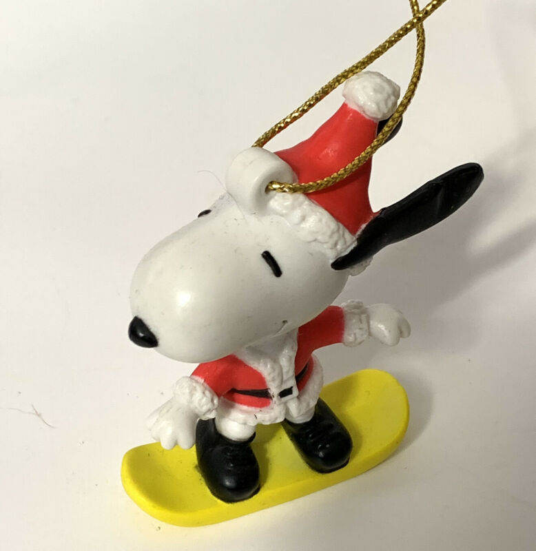 Vintage Peanuts Snoopy Christmas Ornament On Snowboard Santa Outfit