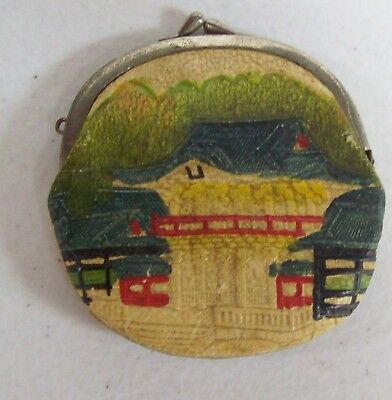 Vintage Hand Painted Asian Houses Leather Coin Purse