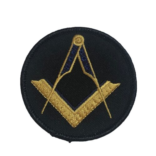 Mason Masonic Gold Blue Black 2.5 inch Square and Compass Patch PW F2D28S