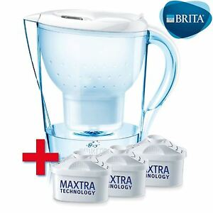 BRITA Marella Water Filter Jug White + 3 Month Starter Pack, 3 Maxtra Cartridges