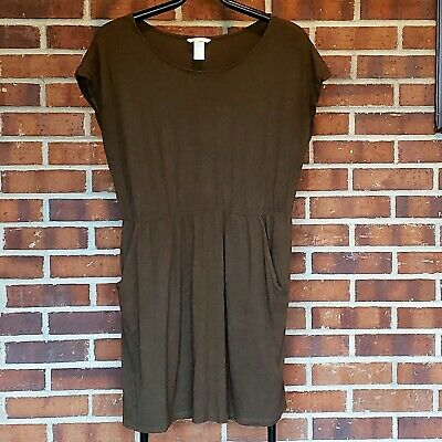 Women's H&M Size Large Elastic Waist short sleeve Dress With Pockets