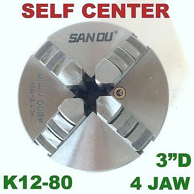 1 Pc Lathe Chuck 3 4 Jaw Self Centering W2 Sets Jaw K12-80 Sct-888