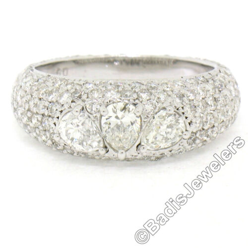 18k White Gold 2.76ctw 3 Stone Pear Cut & Pave Diamond Eternity Dome Band Ring