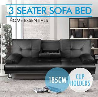 Pu Leather 3 Three Seater Sofa Bed Mattress Futon Couch 2 Cup