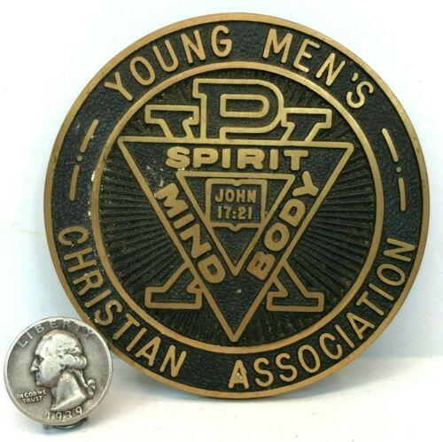 """Vintage 3.5"""" YMCA Bronze Plaque Medallion w/Spirit Mind Body JOHN 17:21"""