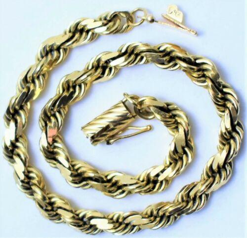 "Vtg MA 14k Gold Michael Anthony 4mm 7-1/2"" Rope Bracelet 11.7Grams Not Scrap"