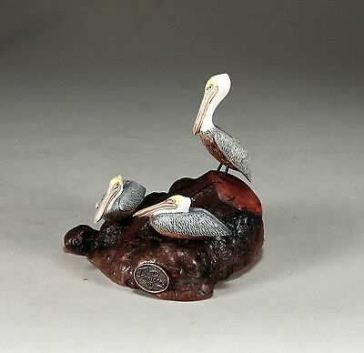 PELICAN TRIO New direct from JOHN PERRY 5in long Sculpture Brown Statue Art
