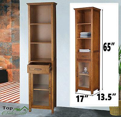 Bathroom Linen Tower Tall Storage Cabinet Towel Organizer Wood Shelves Furniture