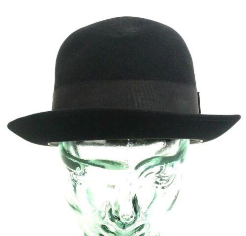 Vintage Champ Bowler Derby Hat Black Felt Size 7 1/4