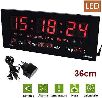 Reloj de Pared y mesa Digital Grande Oficina Temperatura Calendario alarma 220V