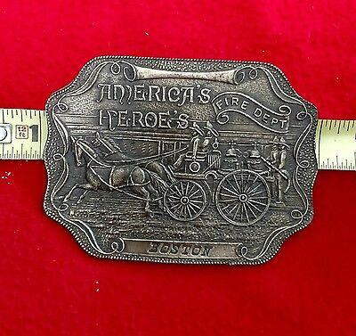 Vintage #S-36 Boston America's Heroe's Fire Dept Brass Belt Buckle
