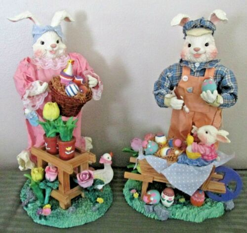Easter Bunny Figurines 12 in Tall Rabbits Decoration Painting Eggs Tulips Garden
