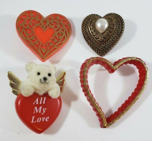 💕 Vintage Holiday  Valentine Heart Plastic Pins  Flocked Bear Angel Lot