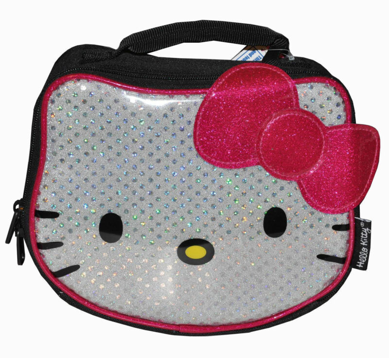 Lunch Bag Insulated HELLO KITTY Face Shape Silver Glitter Pink Bow Black NEW