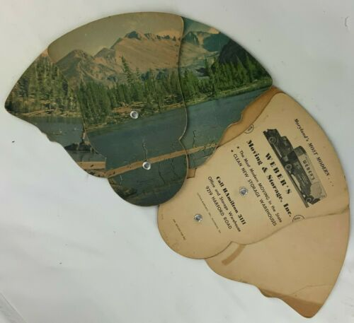 Vintage Tri-fold Cardboard Advertising Hand Fans Weber Moving Baltimore Fishing