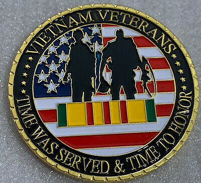 * VIETNAM VETERANS *NEVER FORGET* Challenge Coin Comes In Clear Airtight Capsule
