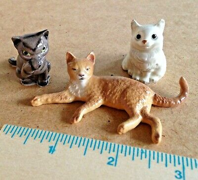 3 Vintage Hagen Renaker Style Miniature Cat Figurines In Need Of Rescue! Miniature Cat Figurine